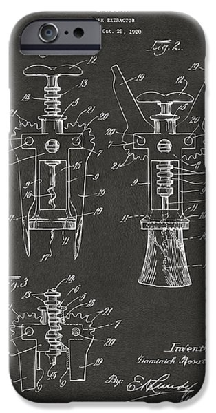 1928 Cork Extractor Patent Artwork - Gray IPhone Case by Nikki Marie Smith