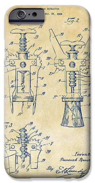 1928 Cork Extractor Patent Artwork - Vintage IPhone Case by Nikki Marie Smith