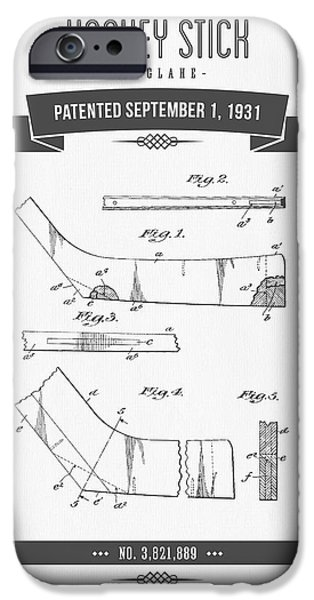 1931 Hockey Stick Patent Drawing - Retro Gray IPhone Case by Aged Pixel