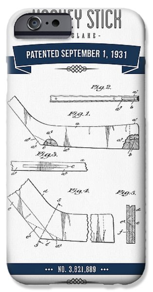 1931 Hockey Stick Patent Drawing - Retro Navy Blue IPhone Case by Aged Pixel