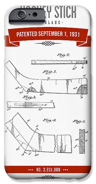 1931 Hockey Stick Patent Drawing - Retro Red IPhone Case by Aged Pixel