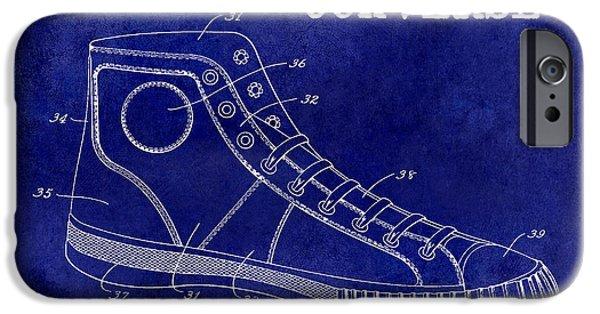 1934 Converse Shoe Patent Drawing Blue IPhone Case by Jon Neidert