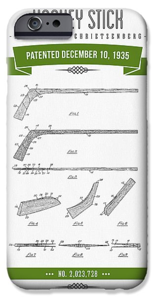 1935 Hockey Stick Patent Drawing - Retro Green IPhone Case by Aged Pixel