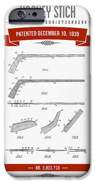 1935 Hockey Stick Patent Drawing - Retro Red IPhone Case by Aged Pixel
