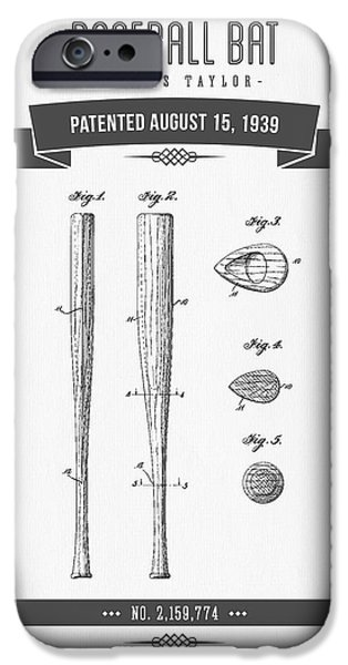 1939 Baseball Bat Patent Drawing IPhone Case by Aged Pixel
