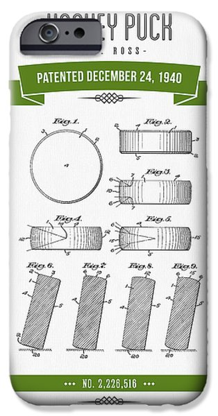 1940 Hockey Puck Patent Drawing - Retro Green IPhone Case by Aged Pixel