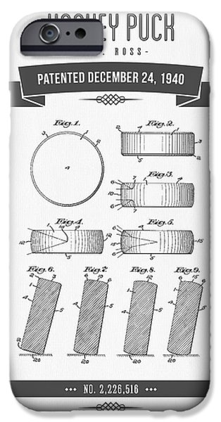 1940 Hockey Puck Patent Drawing - Retro Grey IPhone Case by Aged Pixel