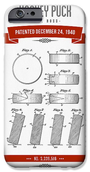1940 Hockey Puck Patent Drawing - Retro Red IPhone Case by Aged Pixel
