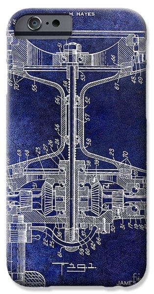 1942 Fishing Reel Patent Drawing Blue IPhone Case by Jon Neidert