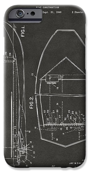 1943 Chris Craft Boat Patent Artwork - Gray IPhone Case by Nikki Marie Smith