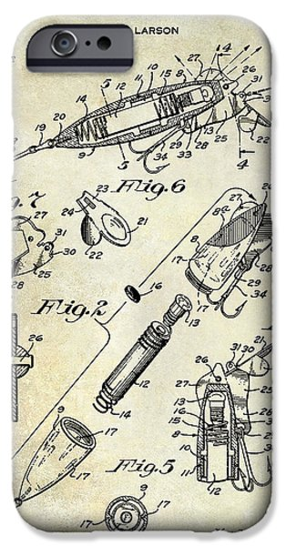 1940 Illuminated Bait Patent Drawing IPhone Case by Jon Neidert