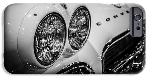 1950's Chevrolet Corvette C1 In Black And White IPhone Case by Paul Velgos