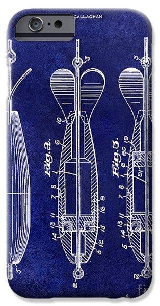1951 Spinning Bait Patent Drawing Blue IPhone Case by Jon Neidert