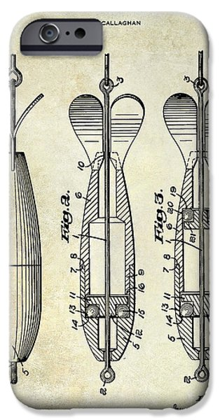 1951 Spinning Bait Patent Drawing IPhone Case by Jon Neidert