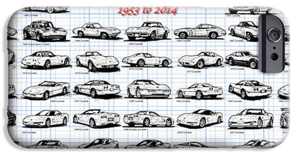 1953-2014-corvettes IPhone Case by K Scott Teeters