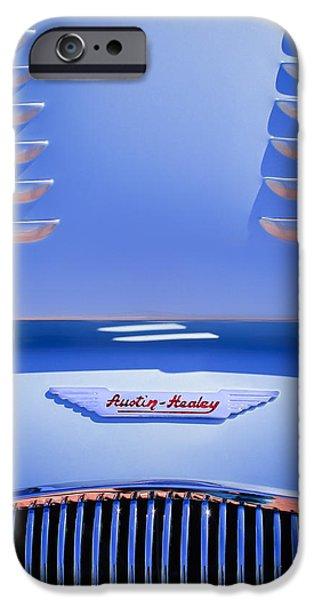 1956 Austin-healey 100m Bn2 'factory' Le Mans Competition Roadster Hood Emblem IPhone Case by Jill Reger