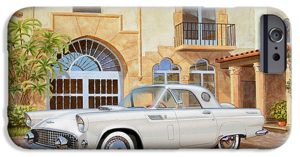 1956 Thunderbird At Palm Beach  Classic Vintage Ford Art Sketch Rendering          IPhone Case by John Samsen