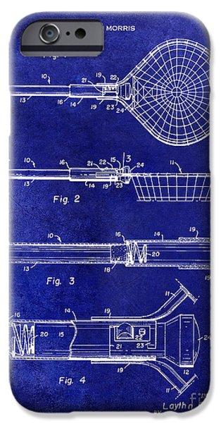 1957 Landing Net Patent Drawing Blue IPhone Case by Jon Neidert