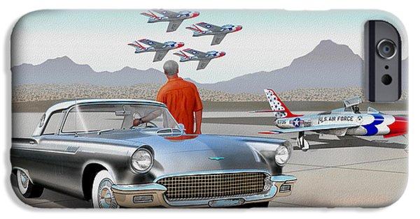 1957 Thunderbird  With F-84 Gunmetal Vintage Ford Classic Art Sketch Rendering           IPhone Case by John Samsen
