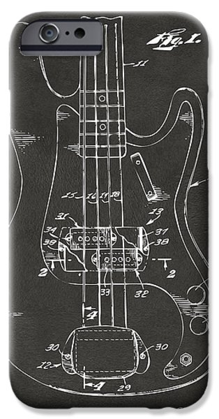 1961 Fender Guitar Patent Minimal - Gray IPhone Case by Nikki Marie Smith