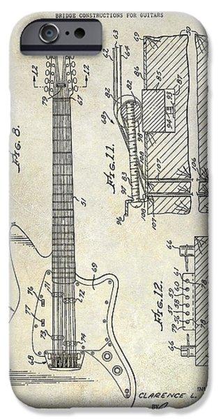 1966 Fender Guitar Patent Drawing  IPhone Case by Jon Neidert