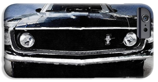 1968 Ford Mustang Shelby Front Watercolor IPhone Case by Naxart Studio