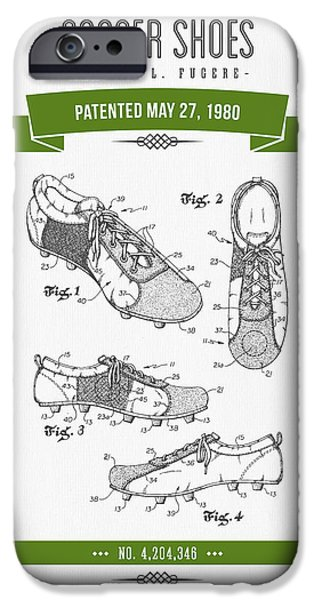 1980 Soccer Shoes Patent Drawing - Retro Green IPhone 6s Case by Aged Pixel