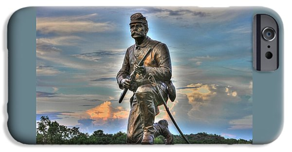 1st Pa Cavalry Regiment Cemetery Ridge Near The Copse Of Trees Evening 3rd Day Of Battle Gettysburg IPhone Case by Michael Mazaika