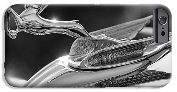 1933 Chrysler Imperial Hood Ornament -0484bw IPhone Case by Jill Reger