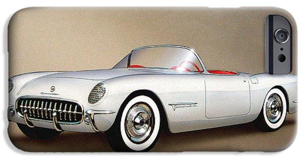 1953 Corvette Classic Vintage Sports Car Automotive Art IPhone 6s Case by John Samsen