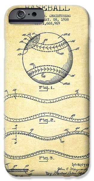 Baseball Patent Drawing From 1928 IPhone 6s Case by Aged Pixel
