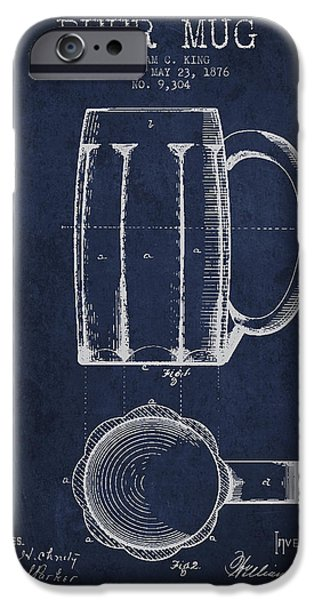 Beer Mug Patent From 1876 - Navy Blue IPhone Case by Aged Pixel