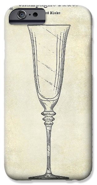 Champagne Flute Patent Drawing  IPhone Case by Jon Neidert