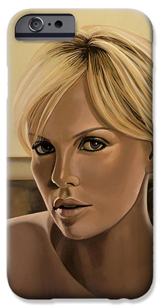 Charlize Theron Painting IPhone Case by Paul Meijering