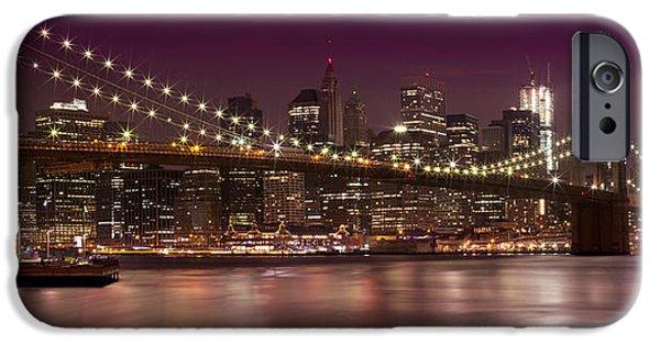 Manhattan By Night IPhone Case by Melanie Viola