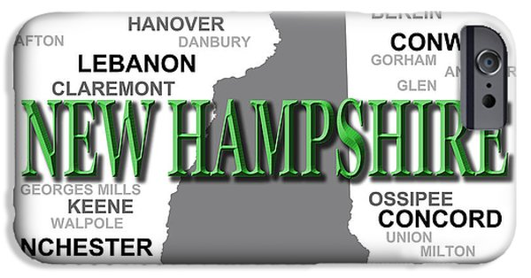 New Hampshire State Pride Map Silhouette  IPhone Case by Keith Webber Jr