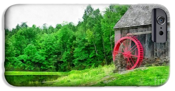 Old Grist Mill Vermont Red Water Wheel IPhone Case by Edward Fielding