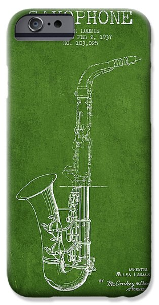 Saxophone Patent Drawing From 1937 - Green IPhone 6s Case by Aged Pixel