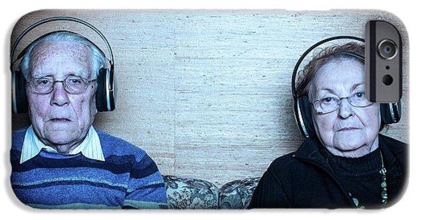 Senior Couple Wearing Headphones IPhone Case by Mauro Fermariello