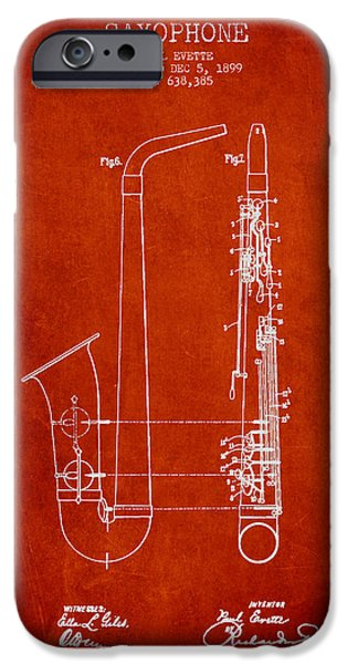 Saxophone Patent Drawing From 1899 - Red IPhone 6s Case by Aged Pixel