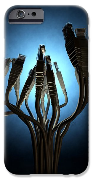 Ethernet Abstract Silhouettes IPhone Case by Allan Swart