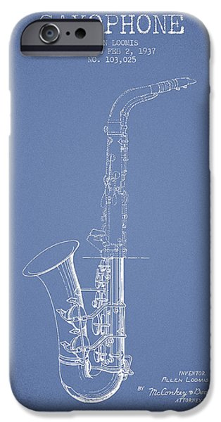 Saxophone Patent Drawing From 1937 - Light Blue IPhone 6s Case by Aged Pixel