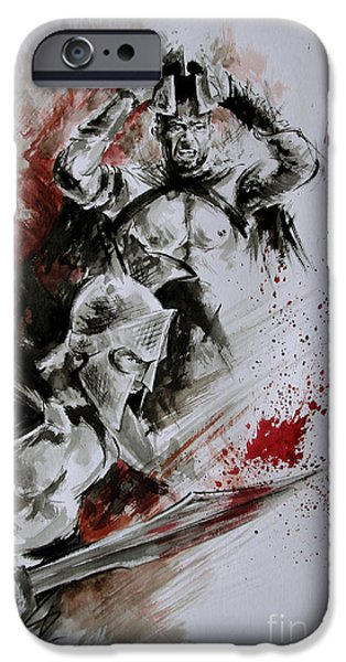 300 Spartan - Death And Glory. IPhone Case by Mariusz Szmerdt