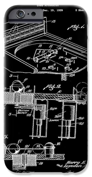 Pinball Machine Patent 1939 - Black IPhone 6s Case by Stephen Younts