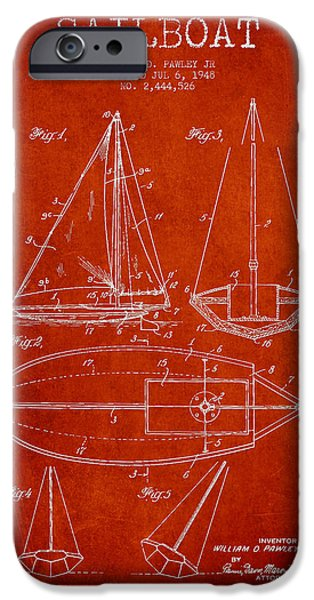 Sailboat Patent Drawing From 1948 IPhone Case by Aged Pixel