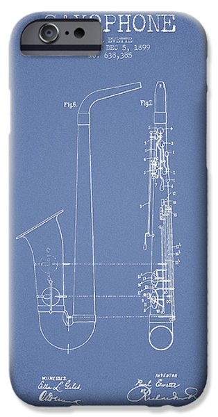 Saxophone Patent Drawing From 1899 - Light Blue IPhone 6s Case by Aged Pixel