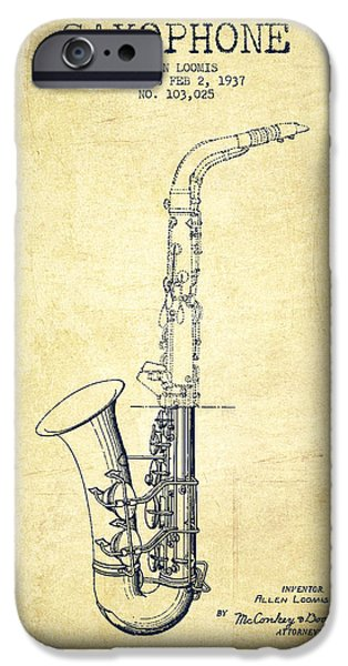 Saxophone Patent Drawing From 1937 - Vintage IPhone 6s Case by Aged Pixel