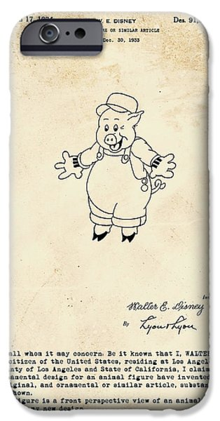 Disney Pig Patent IPhone 6s Case by Marlene Watson