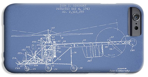 Sikorsky Helicopter Patent Drawing From 1943 IPhone 6s Case by Aged Pixel