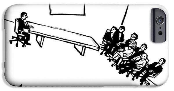 A Board Meeting On A Slant IPhone Case by Drew Dernavich